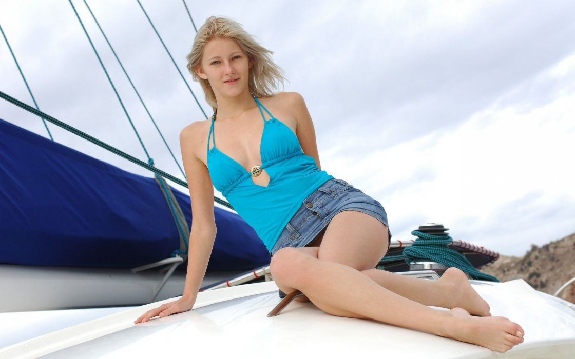 blondes women models Met-Art magazine blue dress Mila I yatch denim skirts wallpaper