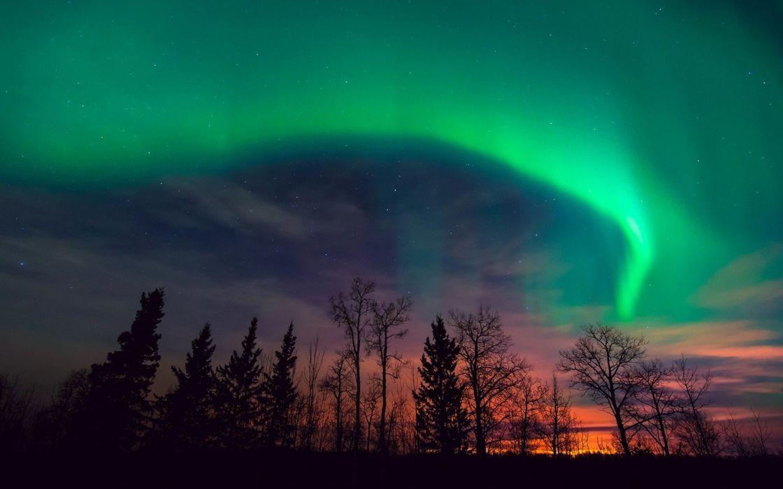 sunset clouds landscapes nature aurora borealis wallpaper