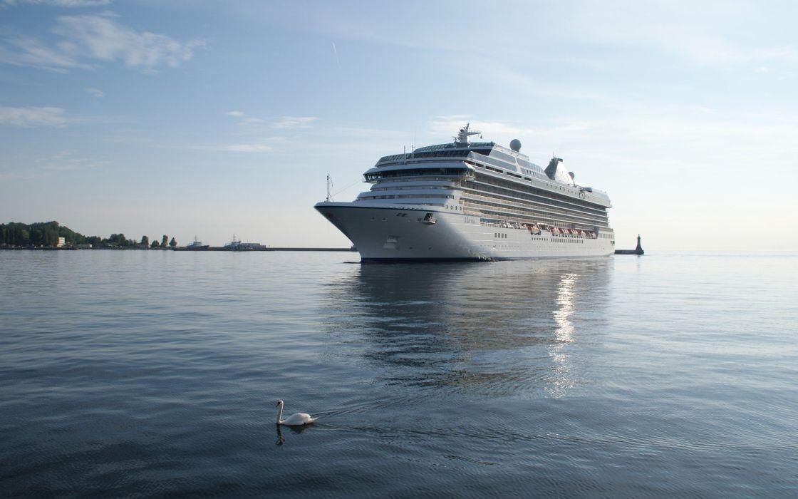 water swans cruise ship wallpaper