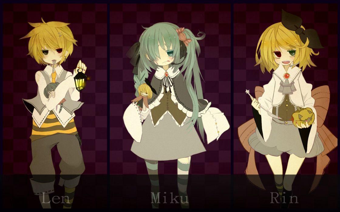Vocaloid Hatsune Miku Halloween Kagamine Rin Kagamine Len heterochromia wallpaper