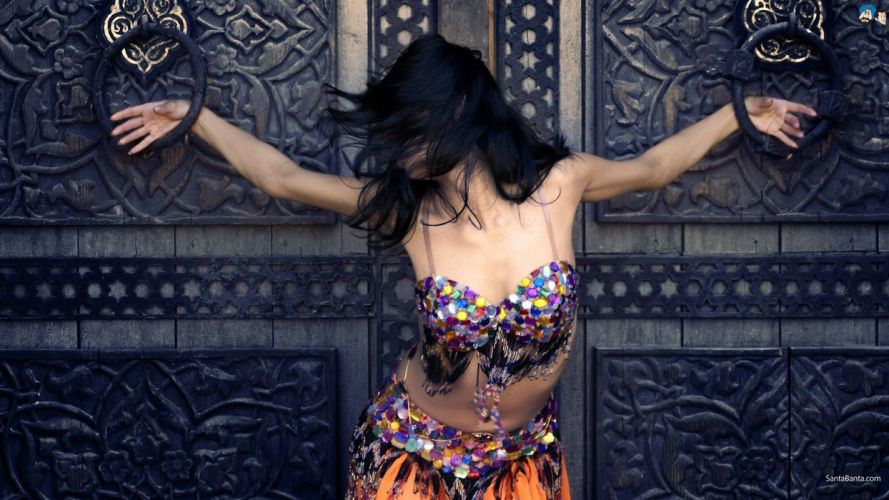 dress belly dancers arms raised black hair wallpaper