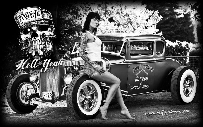 HELL YEAH BEER poster hot rod rods retro sexy babe g wallpaper