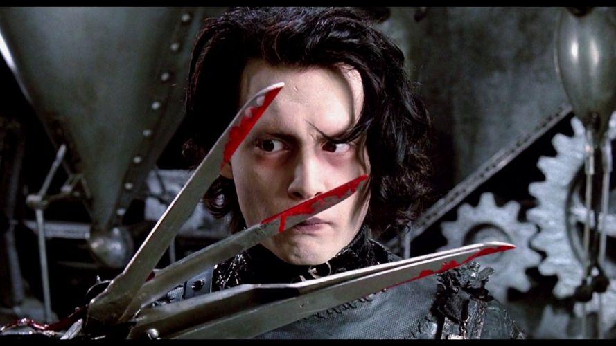EDWARD SCISSORHANDS drama fantasy romance depp dark blood wallpaper