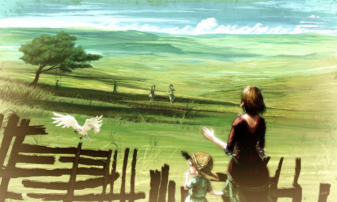landscapes dress grass fields mother swings artwork long ears anime girls clothes wallpaper