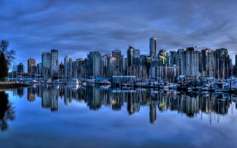 landscapes cityscapes Vancouver towns skyscrapers city skyline wallpaper