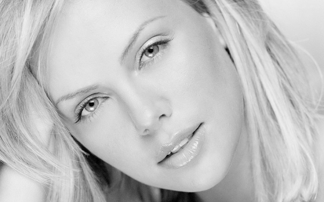 women close-up Charlize Theron faces wallpaper