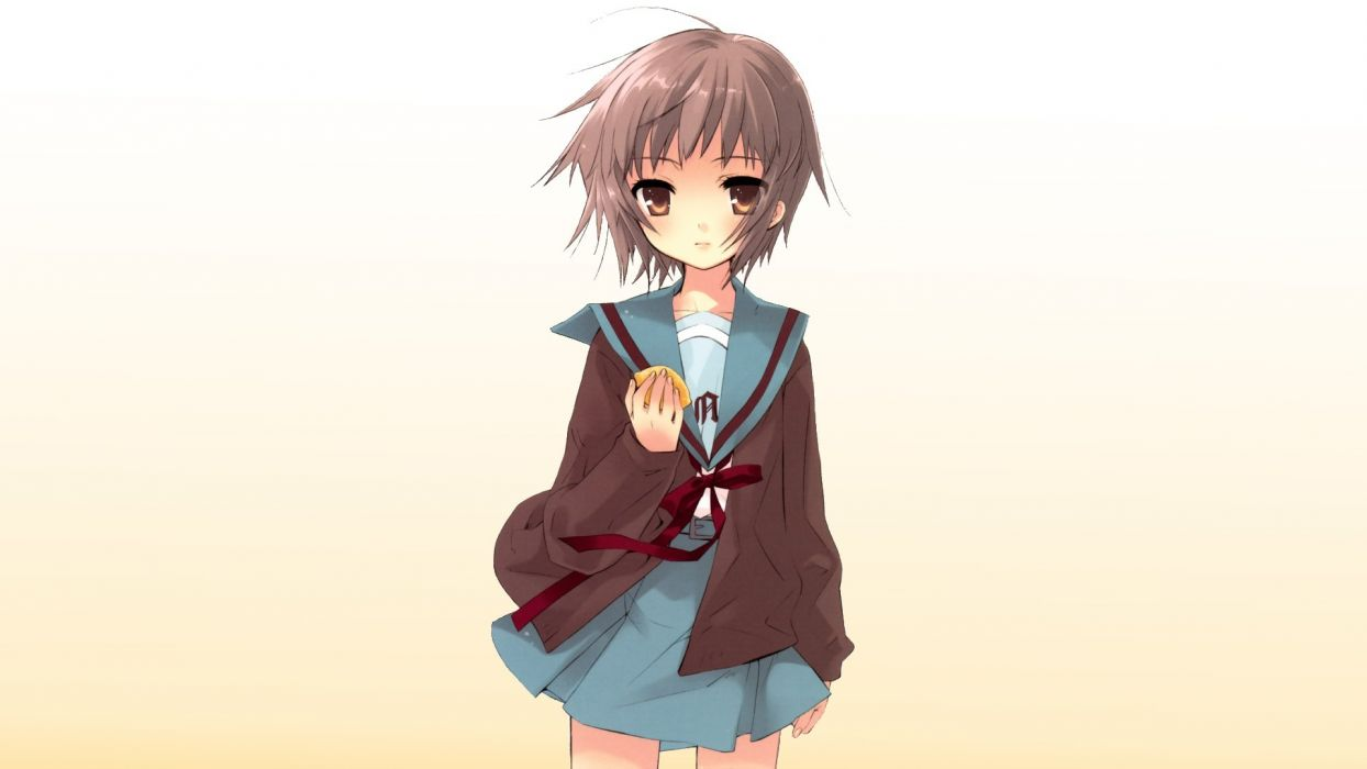 school uniforms Nagato Yuki The Melancholy of Haruhi Suzumiya simple background wallpaper
