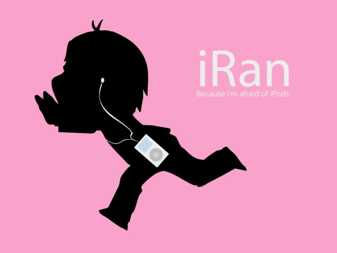Apple Inc_ iPod silhouettes funny brands simple background pink background wallpaper