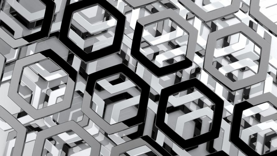 abstract black and white hexagons monochrome wallpaper