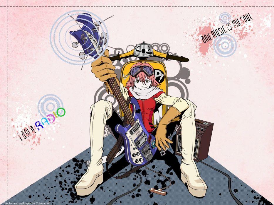 FLCL Fooly Cooly vespa guitars Haruhara Haruko anime girls wallpaper
