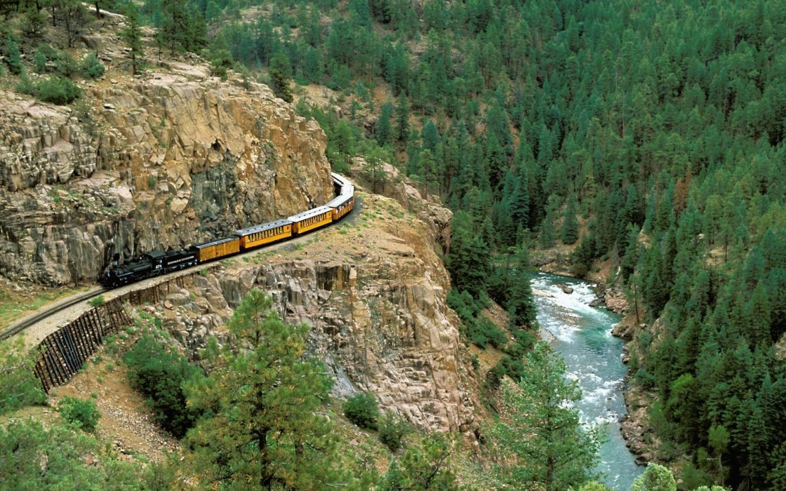 mountains forests railroad tracks steam engine wallpaper