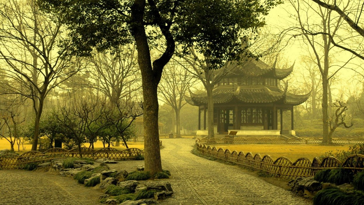 trees Chinese sentinel wallpaper