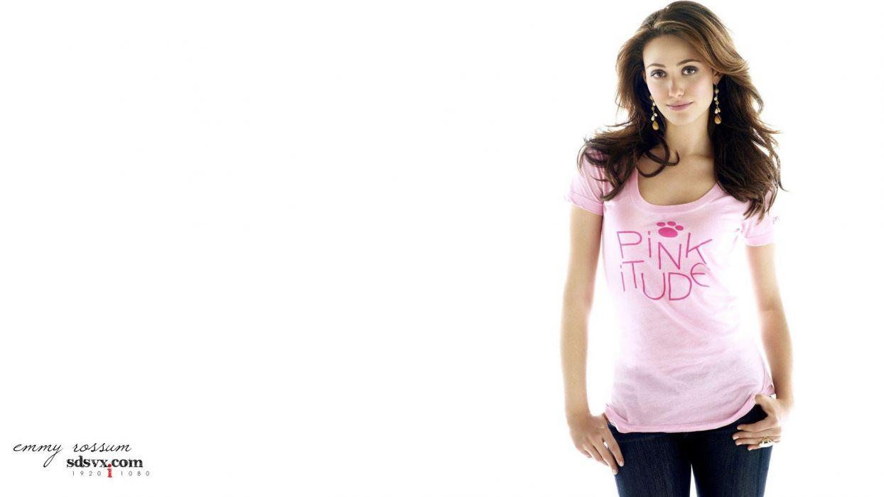 women actress models celebrity Emmy Rossum singers earrings pink dress simple background wallpaper