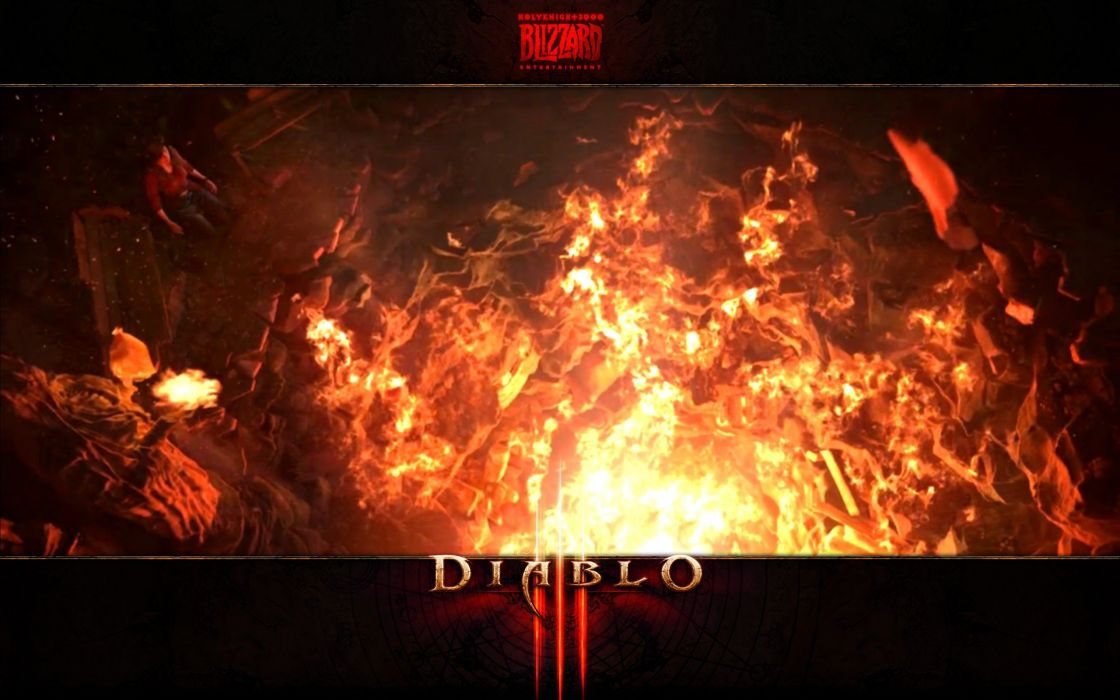 video games crater Diablo Blizzard Entertainment Diablo III games burning wallpaper