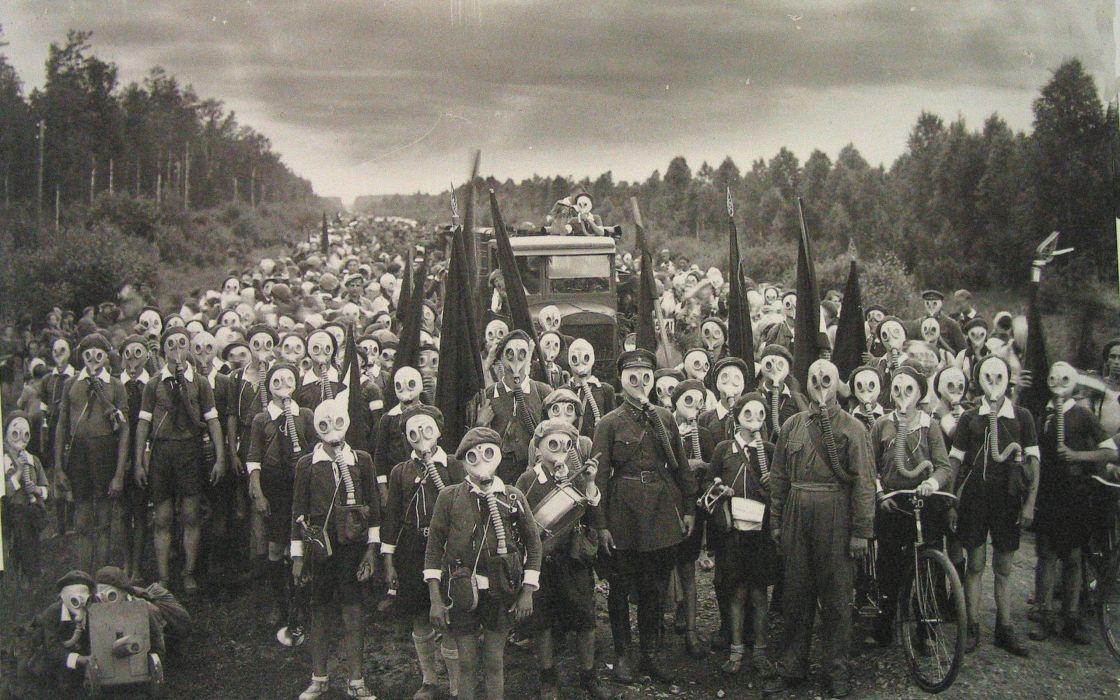 gas masks monochrome old photo wallpaper