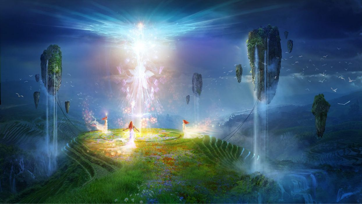 lights floating grass rocks fairies fantasy art white dress Philip Straub wallpaper