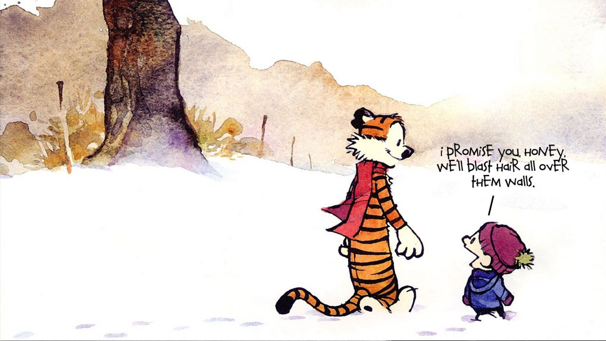snow text Calvin and Hobbes scarfs wallpaper