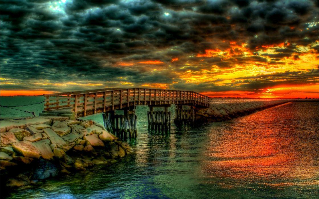 water clouds landscapes bridges beaches wallpaper