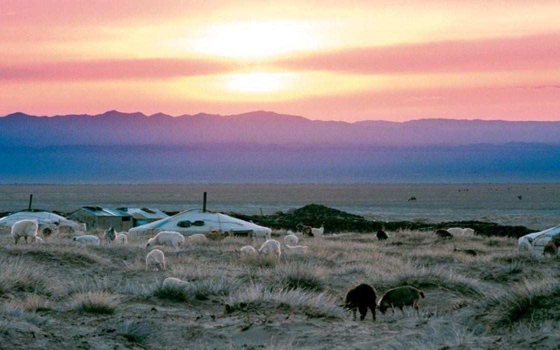 sunset clouds Sun grass Highlands skies wallpaper