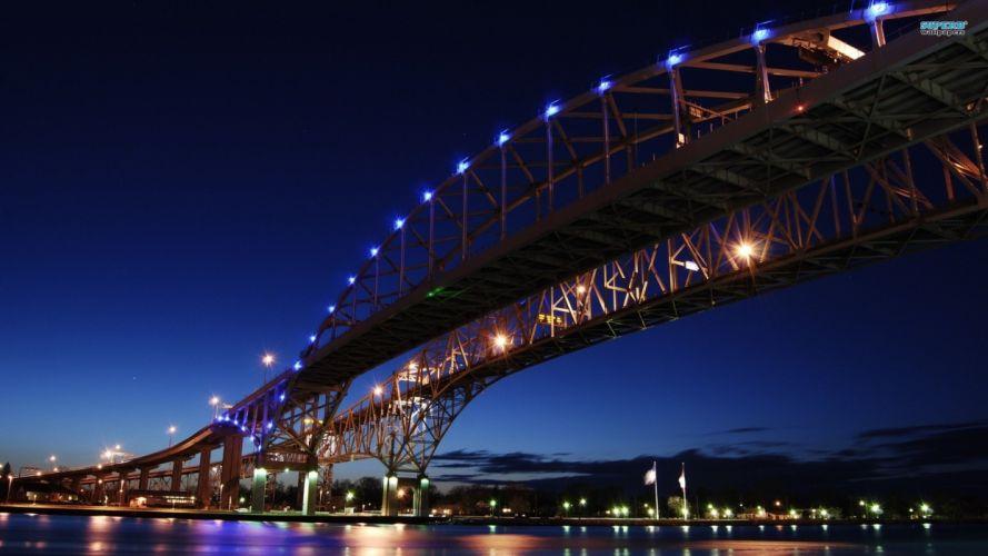 water blue cityscapes bridges wallpaper