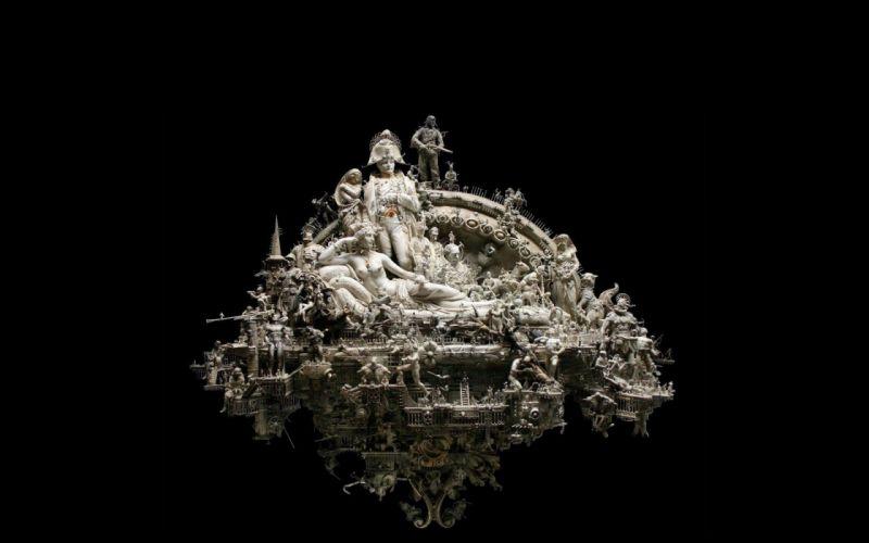 sculptures Napoleon Bonaparte kris kuksi black background wallpaper