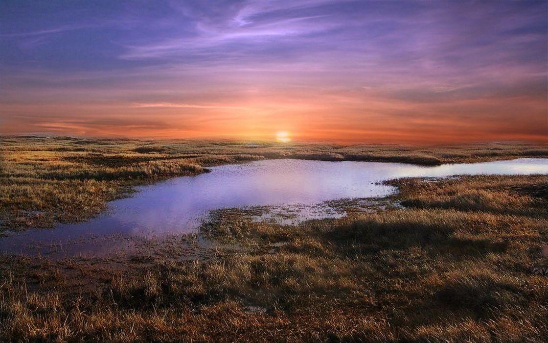 sunset landscapes nature ponds Africa wallpaper