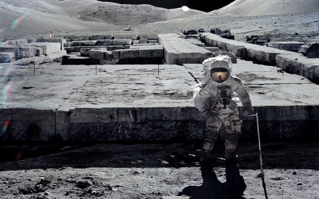 Moon astronauts photo manipulation wallpaper