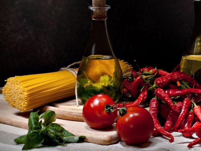 oil tomatoes spaghetti wallpaper