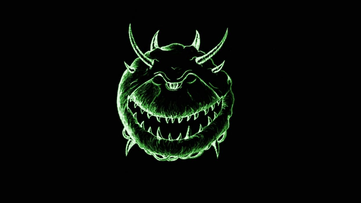 green abstract video games demons horns Doom smiling retro games cacodemon wallpaper