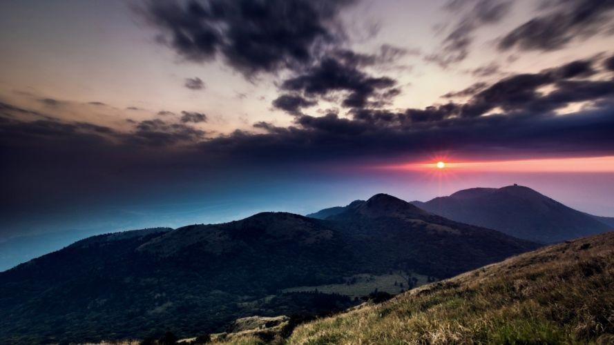 mountains clouds landscapes Sun wallpaper