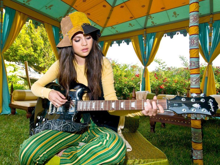brunettes women Selena Gomez guitars singers guitarists wallpaper