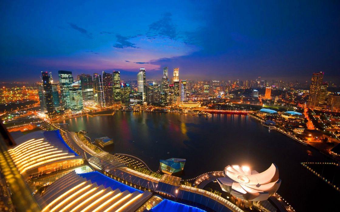 cityscapes Singapore city night wallpaper