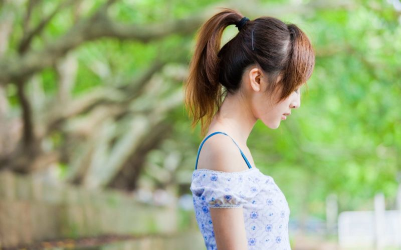 brunettes women dress sorrow Asians Mikako Zhang Kaijie wallpaper