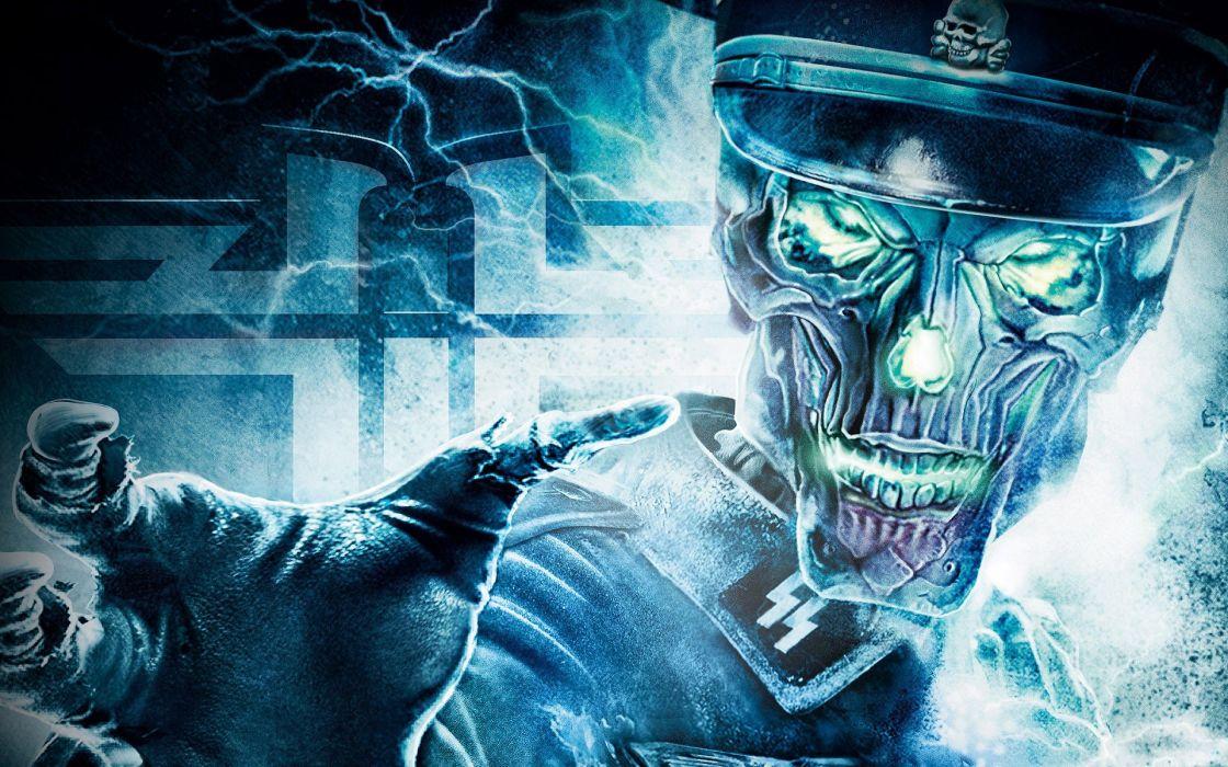 skulls video games Wolfenstein wallpaper