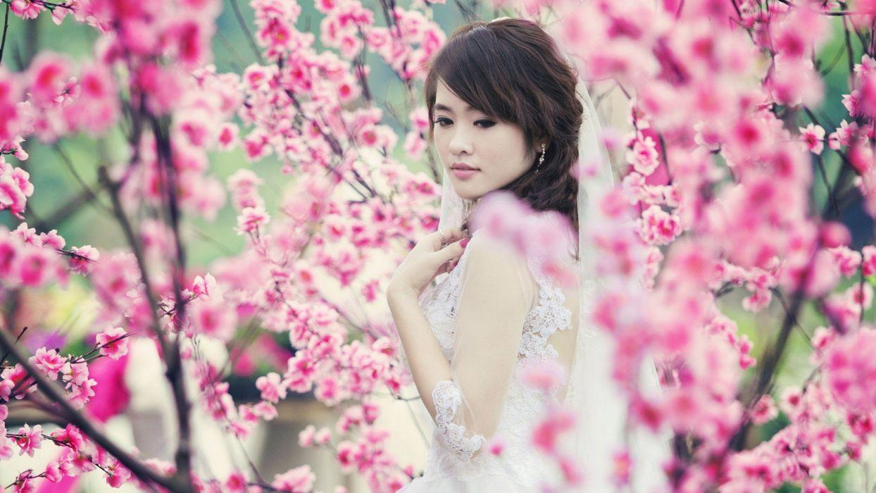 women flowers Asians oriental white dress wallpaper