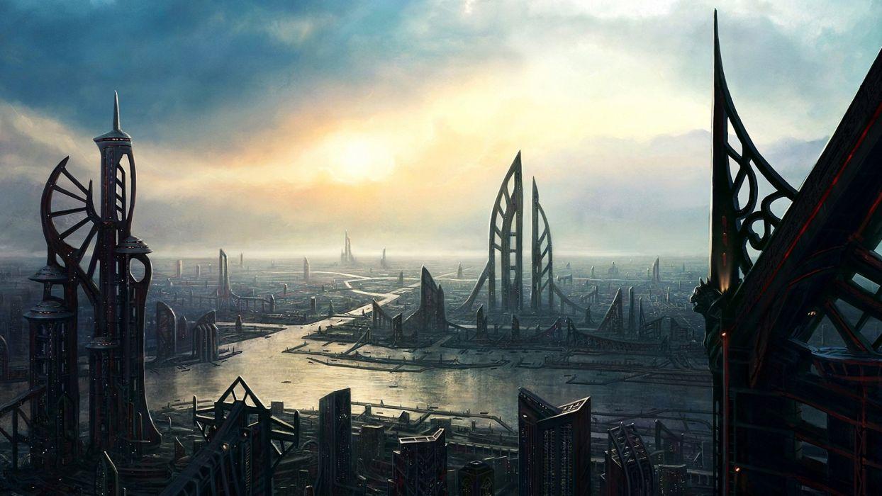 cityscapes futuristic fantasy art science fiction wallpaper
