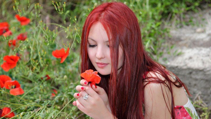 women nature flowers redheads grass models wallpaper