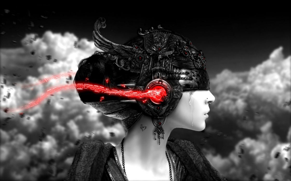 headphones women abstract clouds selective coloring skyscapes renders wallpaper