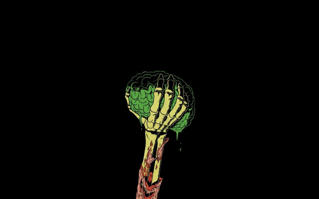 green zombies arm brain wallpaper