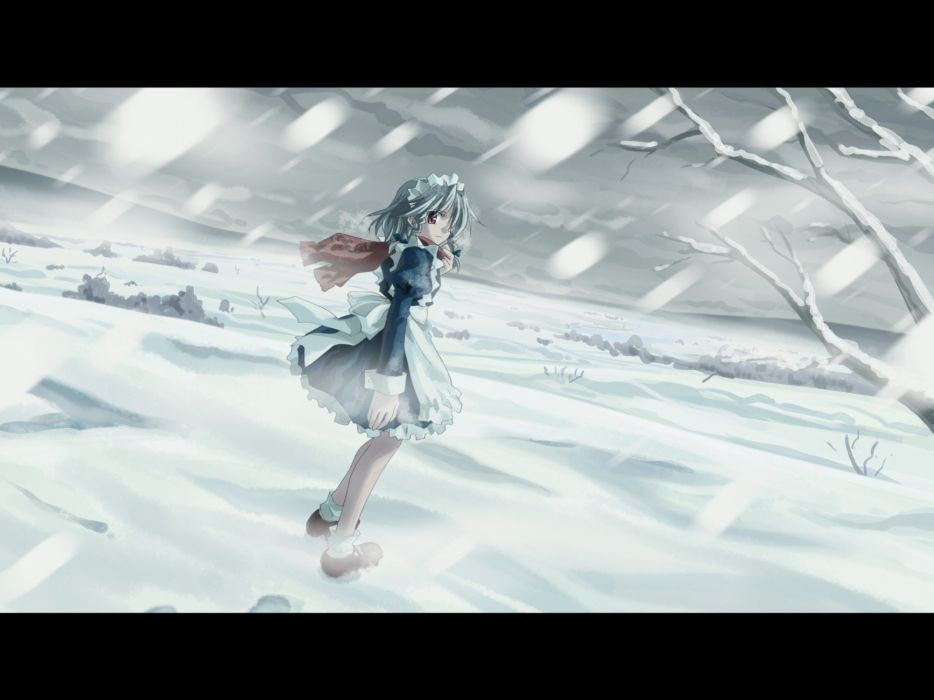 video games winter snow Touhou maids Izayoi Sakuya green hair anime girls Yuuki Tatsuya wallpaper
