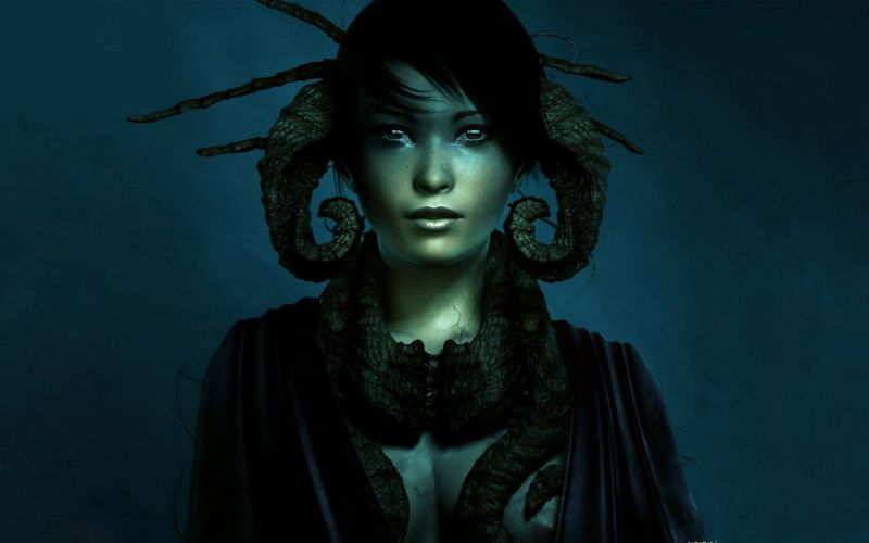 blue horns fantasy art wallpaper