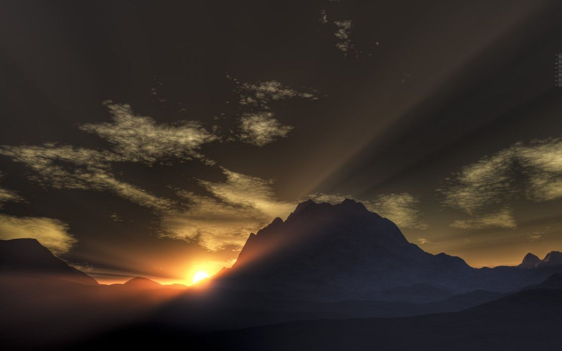 sunrise mountains snow Sun 3D renders rays wallpaper