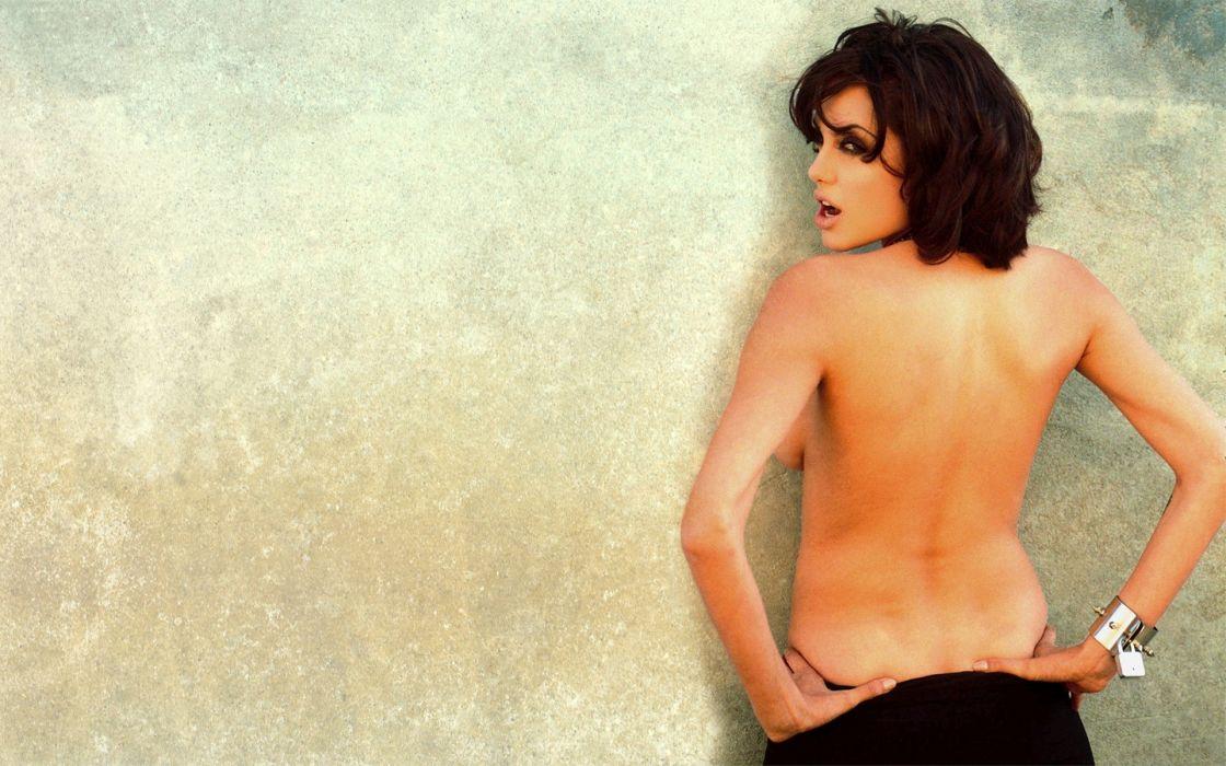brunettes women actress Angelina Jolie simple background wallpaper