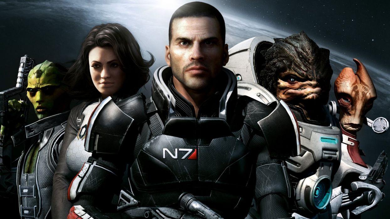 Mass Effect Miranda Lawson Thane Mordin Solus Commander Shepard wallpaper