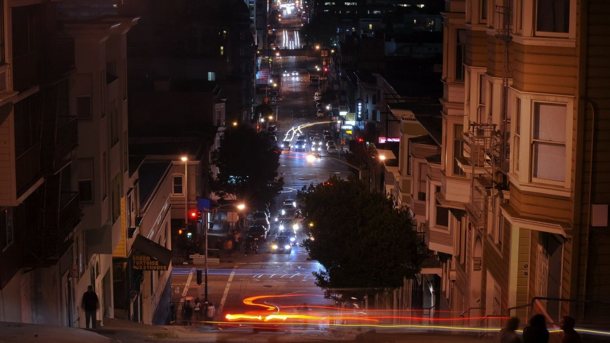 landscapes cityscapes streets architecture urban San Francisco traffic lights wallpaper