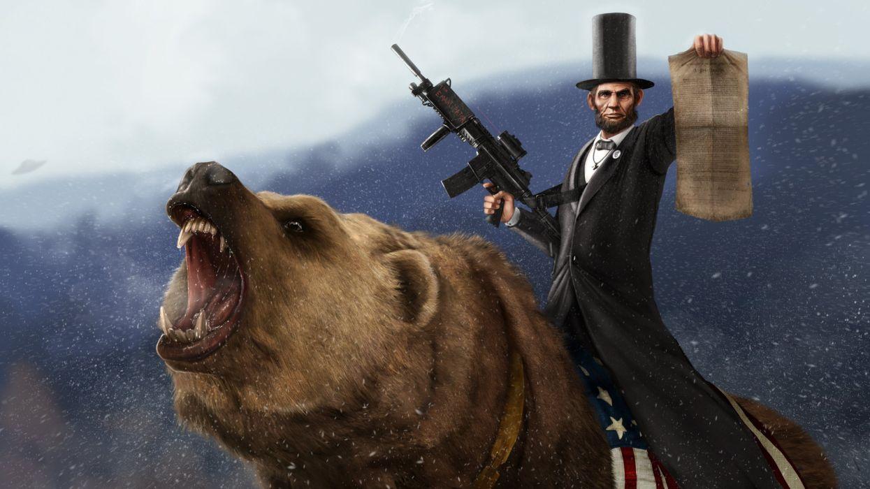 guns Abraham Lincoln CGI bears wallpaper