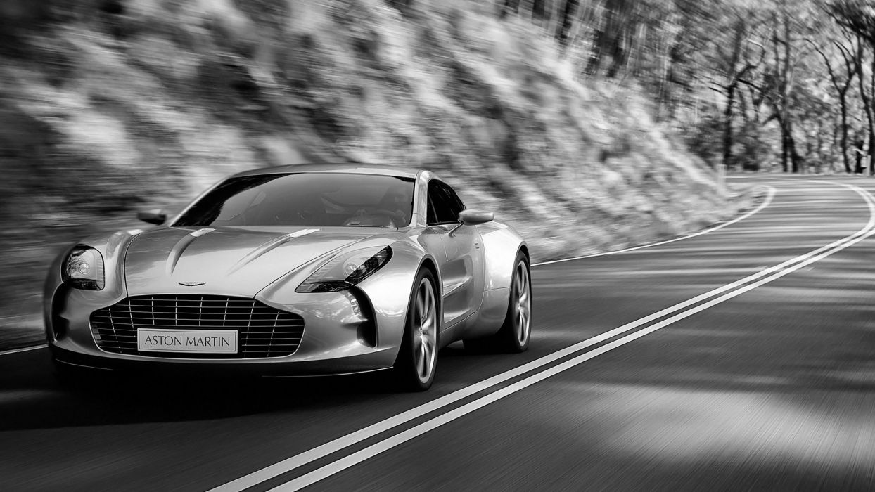 cars Aston Martin grayscale roads monochrome vehicles Aston Martin One-77 wallpaper