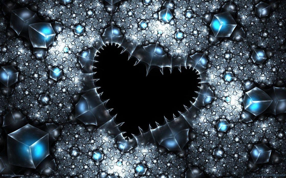 abstract love hearts gems fractal wallpaper