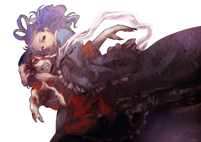 Video Games Touhou Zombies Blue Hair Teeth Miyako Yoshika Anime