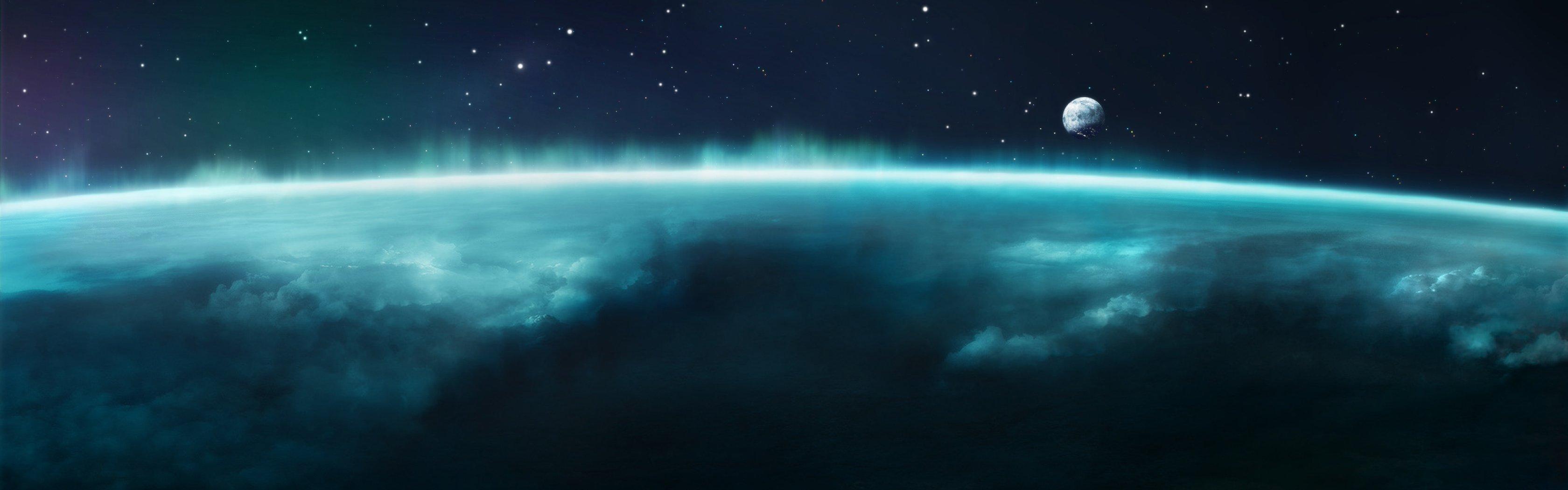 Outer space planets aurora borealis wallpaper | 3360x1050 ...